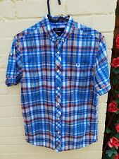 Fred Perry Button Down Collar Check Shirt Short Sleeve Small Slim Fit