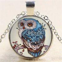 Blue Owl Cabochon Tibetan Glass Silver Alloy Chain Pendant Necklace