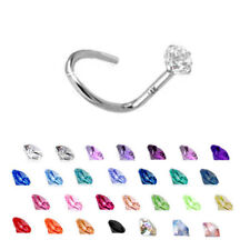 14KT Solid White Gold Nose Screw Ring Stud 2mm CZ 22G