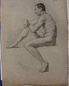 Ignaz Ellminger, männlicher Akt, Zeichnung, signiert