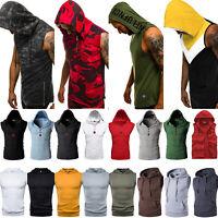 Men Sleeveless Hoodies Muscle Gym Tank Top Workout Casual Vest T-Shirt Sport Tee