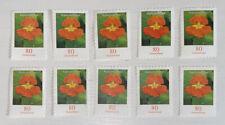 10 Briefmarken Ungestempelt Ungummiert 80cent 0,80 € DS Blumen KAPUZINERKRESSE
