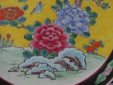Antique Bright Colourful Japanese Charger Plate Birds Peonies & Fruit Tree 12""