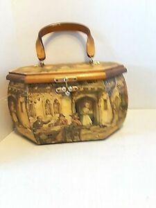 Anton Pieck Wooden Decoupage Vintage Box Purse Handbag octagon signed