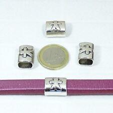 10 Abalorios Para Cuero Regaliz  15x13mm  T464 Plata Tibetano Leather Pelle