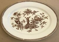 Antique Brown Transferware Oval Plate Asian Motif ca1878 T Elsmore Sons England