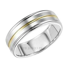 Two Tone Gold Wedding Bands,10K Solid White & Yellow Gold Mens Wedding Rings 6Mm