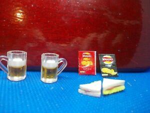 2 BEER MUGS AND FOOD FOR A DOLLS HOUSE
