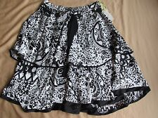 New Women's Lapis Tiered Ruffle Skirt Black & White Animal/Geometric Size Medium