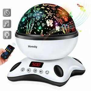 Moredig Baby Light Projector, Remote Control and Timer Design Rotating Night