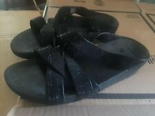 FITFLOP  Women's SPARKLE SHINEY Sandals Size US 10 BLACK GLITZ STRAPPY SLIDE @@