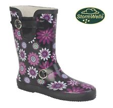 LADIES SHORT FLORAL WELLINGTONS Black Pink Flowers Welly Boots  Size 3 4 5 6 7 8