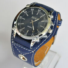 SOKI Blue Color Analog Time Quartz Mens Womens Unisex Wrist Band Watch