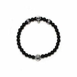 Invicta Men's SKULL Elements INJ-33890 8 in. Black Shiny Agate Bracelet