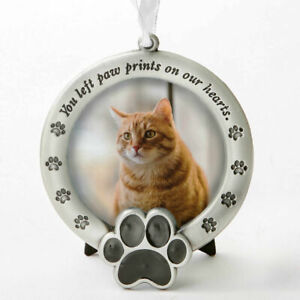 Pet Memorial Frame You Left Paw Prints On Our Hearts Pewter Dog Cat New UK Stock