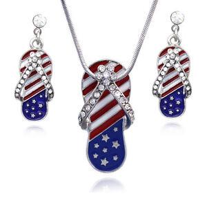 4th of July American Flag Flip Flop Sandal Pendant Necklace Earrings Set