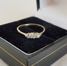 Antique 18ct Gold three stone Ring.Claw set with Eight cut Diamonds .c 1940..50s