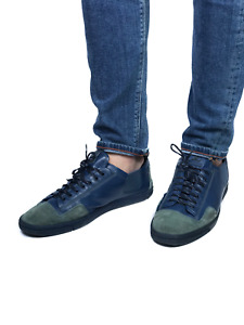 LOUIS VUITTON men's blue leather/suede low top sneakers | Size 9 /US 10.5 (11in)