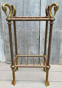 Vintage Chapman Brass 2-Tier Swan Side Table Plant Umbrella Stand 1983