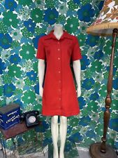 AJ42 Vintage 1970's Red Dress Button Down Front Size 10 12