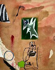 """BCC-7 Small Abstract Bird Shark Collage Art Drawing Painting Steven Tannenbaum"