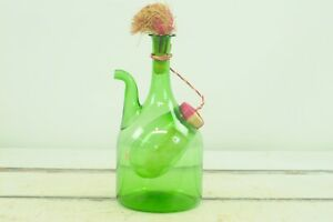 Vintage 1970s Princess House Old World Italian Wine Cooler Green Glass Decante