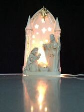 Porcelain Ivory Bisque Nativity Accent Light with Gold Accents