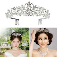 Wedding Bridal Princess Crystal Prom Hair Veil Tiara Crown Headband with Comb
