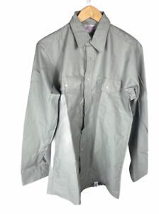 New Vintage Red Kap Gray Size 16 36/37 Long Sleeve Button Up Free US Shipping