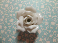 White Ceramic Rose - Large 37mm - Flower Bead - Finial Top with Hole - Qty 1