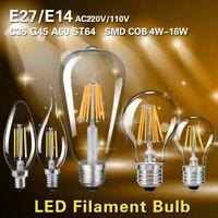 E27 E14 4/8/16W COB AMPOULE LED EDISON FILAMENT LUMIÈRE VINTAGE COULOIR LAMPES