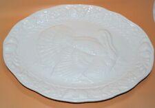"Vntg White Embossed 17"" Thanksgiving Turkey Oval Serving Platter made in Japan"