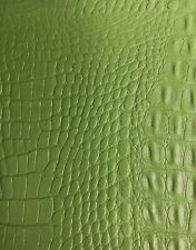 FAUX LEATHER  CROCODILE PRINT GREEN UPHOLSTERY FABRIC 54'' --  FABRICS FOREVER
