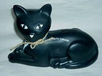 "Black Eveready Cat Bank BLOW MOLD PLASTIC 9"""