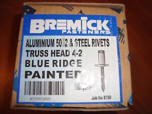 """Pop Rivets Truss head 4-2 painted """"BLUE RIDGE"""" Box of 1000,, free post Bremick"""
