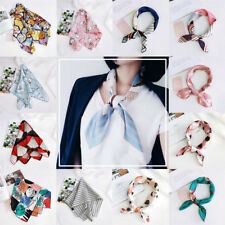 Floral Women Elegant Print Square Silk Scarf Hijab Head-Neck Hair Tie Band Satin