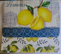 "LEMONS Reversible Placemats Plastic  17"" x 11"" in  set of 6 table  decor"