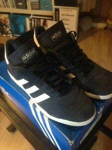 ADIDAS BUSENITZ TRAINERS BLUE WITH WHITE STRIPES SIZE 8 VG CONDITION SKATEBOARD