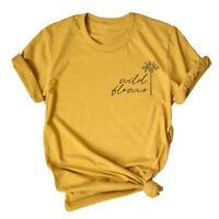 Women Wild Flower Hipster Blouse Casual Yellow Top Short Sleeve Tee T-Shirt