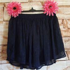 Converse One Star Skirt Mini Black Blue Sheer Stretch Waist Lined Skate Zipper S