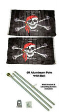 3x5 Jr Pirate Surrender The Booty 2ply Flag Aluminum Pole Kit Ball Top 3'x5'
