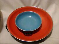 Enamelware Lot of 2 Red #25 Blue #15 Enamel Metal Saute Pan Made in Yugoslavia