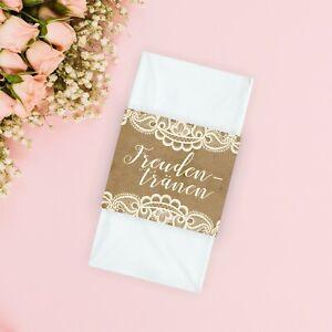 50 Für Freudentränen Banderolen Hochzeit Gastgeschenke Kraftpapier Taschentücher