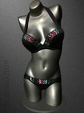 Victoria's Secret  Beaded Sequin Bombshell Black Halter Bikini 36C/S US