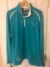 Puma Cell Tech Longsleeve 1/4 Zip Golf Top Sweater 565505 Size L Turquoise