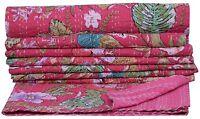 Indien Kantha Floral Couette Coton Couvre-Lit Couverture Ralli Handmade Couette
