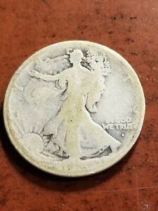 1916 D Walking Liberty Silver Half Dollar, key date      INV08     HL8116