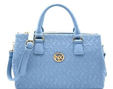 NEW Faux Leather Noble Exchange NX Embossed 3 Compartment Satchel Large SKY
