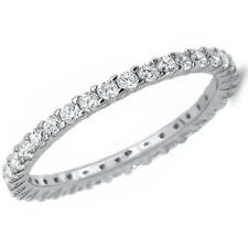 2 TCW Round Cut CZ Stackable Eternity Bridal Wedding Band Ring 925 Silver Size 9