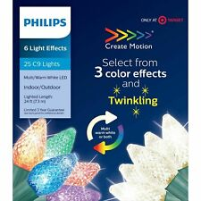 Philips 25 Christmas LED Twinkle Faceted C9 String Lights Warm White Multicolor